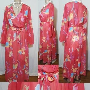 Floral Print Tie Waist Long Sleeve Dress- Size M